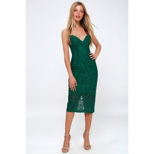 Bardot Gia Lace Pencil Dress in Forrest Green